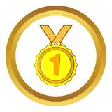 Medal for first place vector icon, cartoon style. Medal for first place vector icon in golden circle, cartoon style isolated on white background Royalty Free Stock Photography