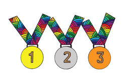 Medal for first, second and third place. Medal with multicolor ribbon. Vector illustration for graphic design, cards, posters, texture backgrounds, placards Royalty Free Stock Images