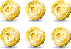 Medal gold happy birthday Royalty Free Stock Images