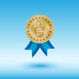 Medal. Gold medal with thumb up sign, vector eps 10 illustration Royalty Free Stock Photography