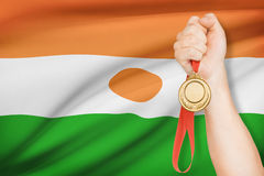 Medal in hand with flag on background - Republic of Niger Royalty Free Stock Photos