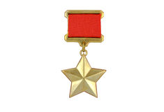 The medal of the Hero of the Soviet Union. Gold medal of the Hero of the Soviet Union on a white background royalty free stock photos