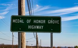 Medal of Honor Grove Highway Marker Sign. Phoenixville, PA, USA - November 26, 2015: A Medal of Honor Grove Highway marker sign along Route 23 in Chester County royalty free stock images