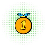 Medal icon, comics style. First place award gold medal icon in comics style isolated on white background vector illustration
