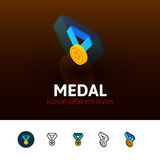 Medal icon in different style. Medal color icon, vector symbol in flat, outline and isometric style isolated on blur background Royalty Free Stock Images