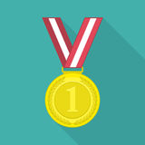 Medal icon with long shadow. Golden medal icon for the winner in flat style with long shadow. 1st Position First prize vector illustration Royalty Free Stock Image