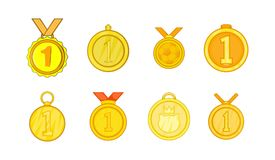 Medal icon set, cartoon style. Medal icon set. Cartoon set of medal vector icons for your web design isolated on white background Stock Images