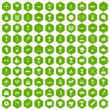 100 medal icons hexagon green. 100 medal icons set in green hexagon isolated vector illustration Stock Images