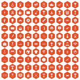 100 medal icons hexagon orange. 100 medal icons set in orange hexagon isolated vector illustration Stock Image