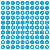 100 medal icons set blue. 100 medal icons set in blue hexagon isolated vector illustration Royalty Free Stock Images