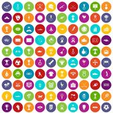 100 medal icons set color. 100 medal icons set in different colors circle isolated vector illustration Royalty Free Stock Photos