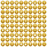 100 medal icons set gold. 100 medal icons set in gold circle isolated on white vectr illustration Royalty Free Stock Image