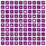 100 medal icons set grunge purple. 100 medal icons set in grunge style purple color isolated on white background vector illustration Stock Photo