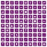 100 medal icons set grunge purple Stock Photo