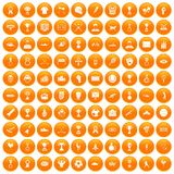 100 medal icons set orange. 100 medal icons set in orange circle isolated vector illustration royalty free illustration