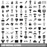 100 medal icons set, simple style. 100 medal icons set in simple style for any design vector illustration Royalty Free Stock Images