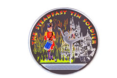 Medal with the image of the soldier and the ballerina. Souvenir in the form of a medal with the image of the soldier against fire and the tantsiyushchy Stock Image