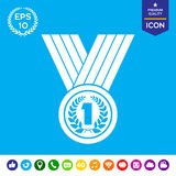 Medal with Laurel wreath. Icon Royalty Free Stock Image