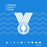 Medal with Laurel wreath, icon. Signs and symbols - graphic elements for your design Royalty Free Stock Photos