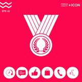 Medal with Laurel wreath, icon. Signs and symbols - graphic elements for your design Stock Images