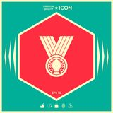 Medal with Laurel wreath, icon. Signs and symbols - graphic elements for your design Royalty Free Stock Images