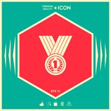 Medal with Laurel wreath. Icon. Signs and symbols - graphic elements for your design Stock Photos
