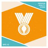Medal with Laurel wreath, icon. Signs and symbols - graphic elements for your design Royalty Free Stock Photo