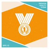 Medal with Laurel wreath. Icon. Signs and symbols - graphic elements for your design Royalty Free Stock Image