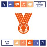 Medal with Laurel wreath, icon. Signs and symbols - graphic elements for your design Royalty Free Stock Image
