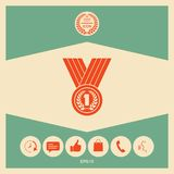 Medal with Laurel wreath. Icon. Signs and symbols - graphic elements for your design Royalty Free Stock Photos