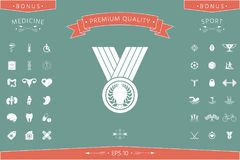 Medal with Laurel wreath, icon. Signs and symbols - graphic elements for your design Stock Photography