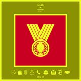 Medal with Laurel wreath, icon. Signs and symbols - graphic elements for your design Stock Photo