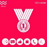 Medal with Laurel wreath. Icon. Signs and symbols - graphic elements for your design Stock Photo