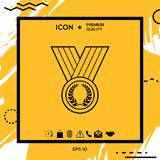 Medal with Laurel wreath, line icon. Element for your design Royalty Free Stock Photos