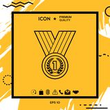 Medal with Laurel wreath. Line icon. Element for your design Stock Images