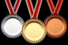 Medal. S isolated on black background Stock Photography