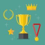 Medal nagrody i osiągnięcie ikony ustawiać ilustracji
