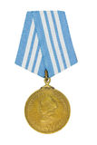 Medal of Nakhimov. A closeup on a white background stock photography