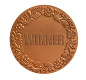 Metal medal for awarding. Medal with ornament for awarding the winner as success achievement concept Stock Photos
