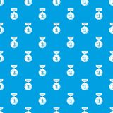 Medal pattern vector seamless blue. Repeat for any use Royalty Free Stock Photo
