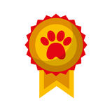 Medal with paw icon Royalty Free Stock Image
