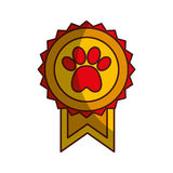 Medal with paw icon Stock Photography