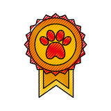 Medal with paw icon Stock Image