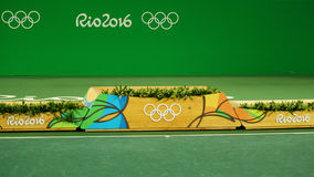 Medal podium during tennis men singles final medal ceremony at the Maria Esther Bueno Court of the Rio 2016 Olympic Games Royalty Free Stock Photo
