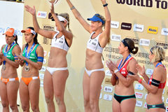 Medal presentation in women's FIVB World Tour game Stock Photos
