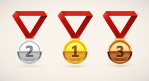 Medal realistic object isolated on white Stock Photos
