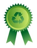 Medal with recycle sign Stock Photo