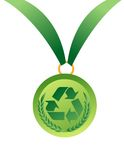 Medal with recycle sign Royalty Free Stock Images