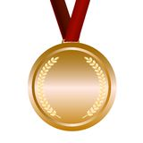 Medal with red ribbon Royalty Free Stock Images