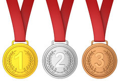 Medal with red ribbon Royalty Free Stock Photography